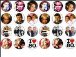 24 x I LOVE 80 's eighties wafer rice Cake Tops toppers